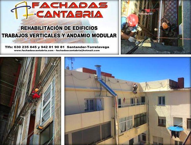 Trabajos verticales reparación de fachadas Cantabria. pinturas y revestimientos
