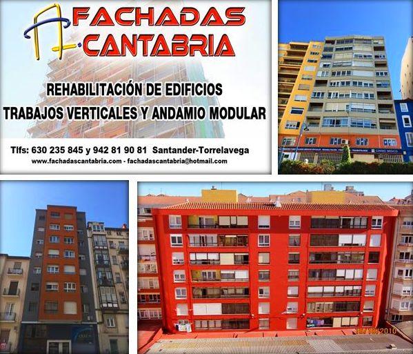 Reforma de fachadas Cantabria. andamios o trabajos verticales.