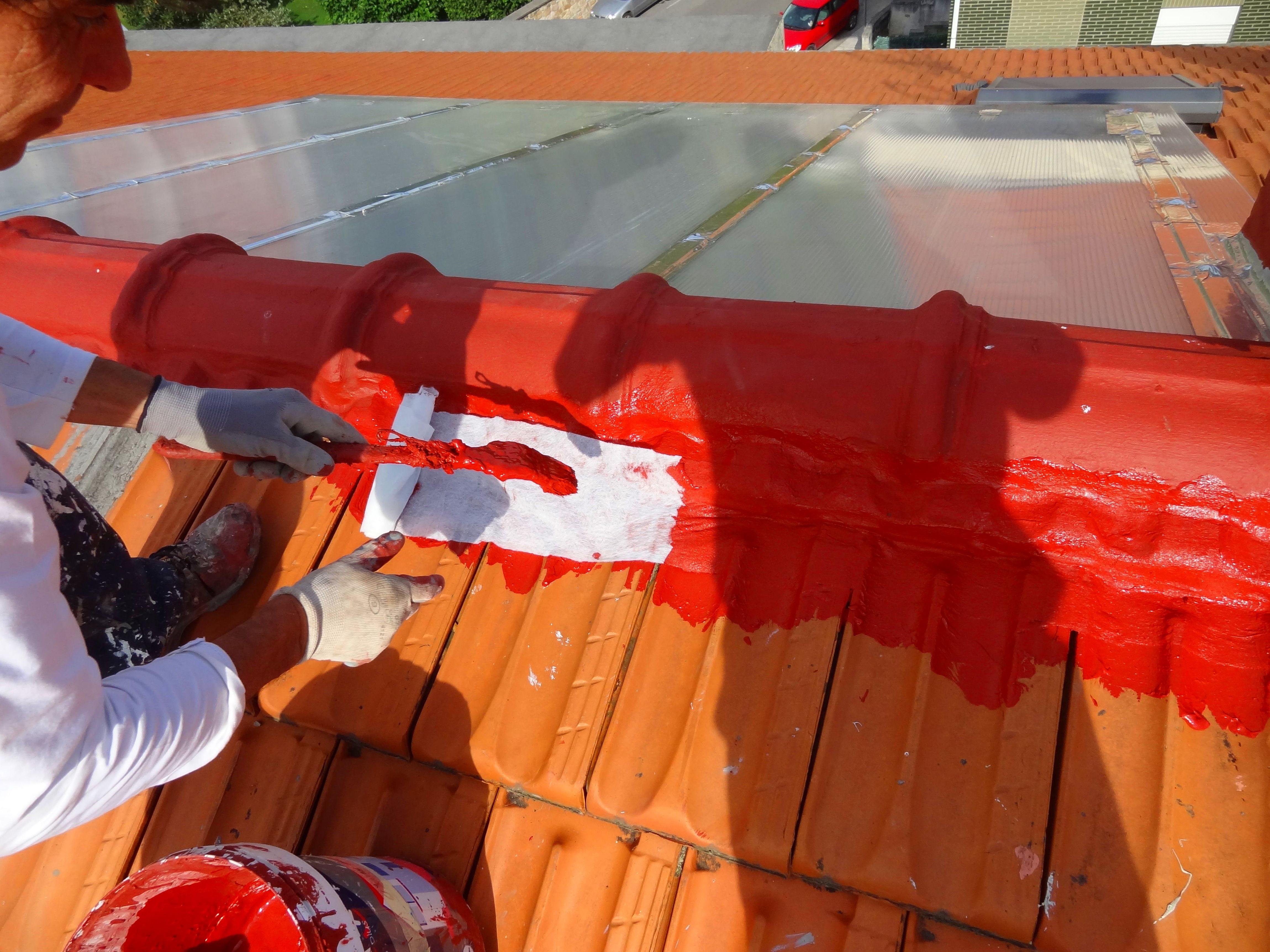 Mantenimiento de cumbrera con pintura malla geotextil embebida.