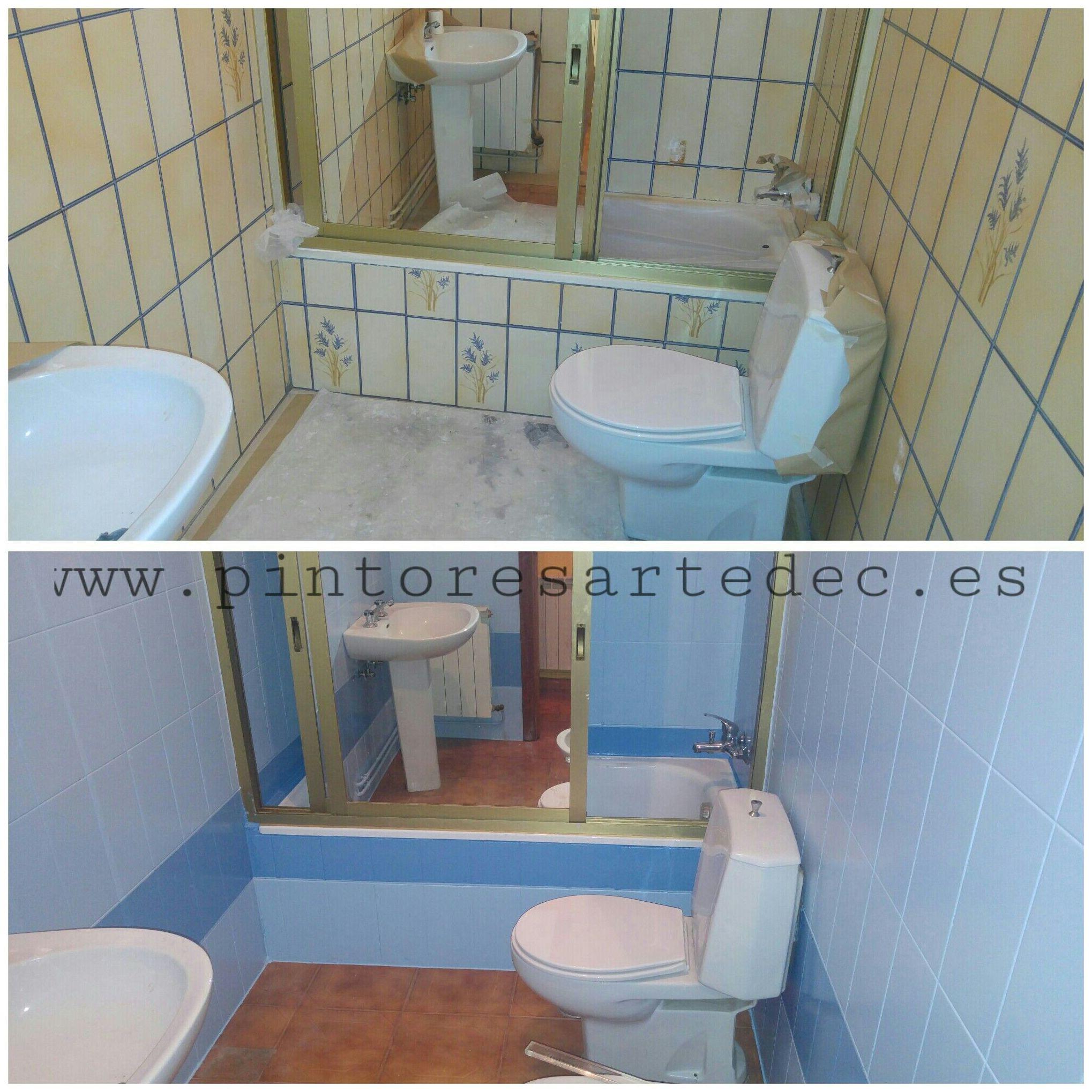 Pintura para azulejos servicios de pintores artedec - Pintura para azulejos de bano ...