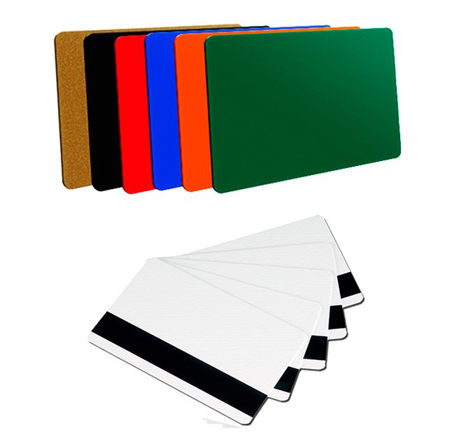 Tarjetas de PVC blancas y de colores