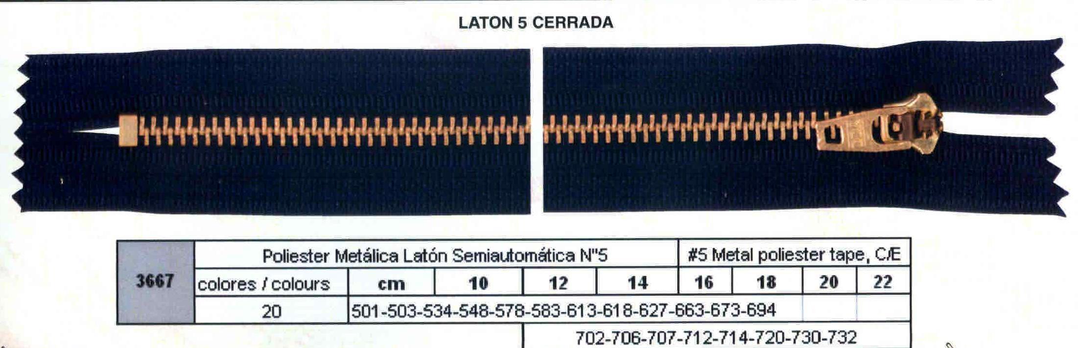 Cremallera SNS Poliester Metálica Latón Semiautomática num. 5