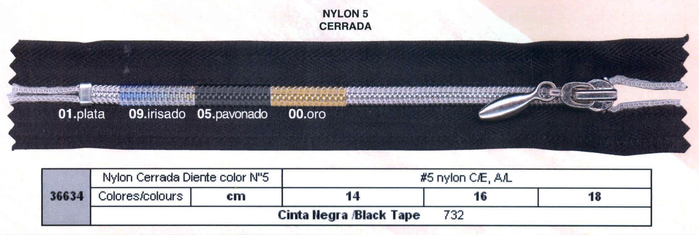 Cremallera SNS Nylon M-5 Metal Cerrada