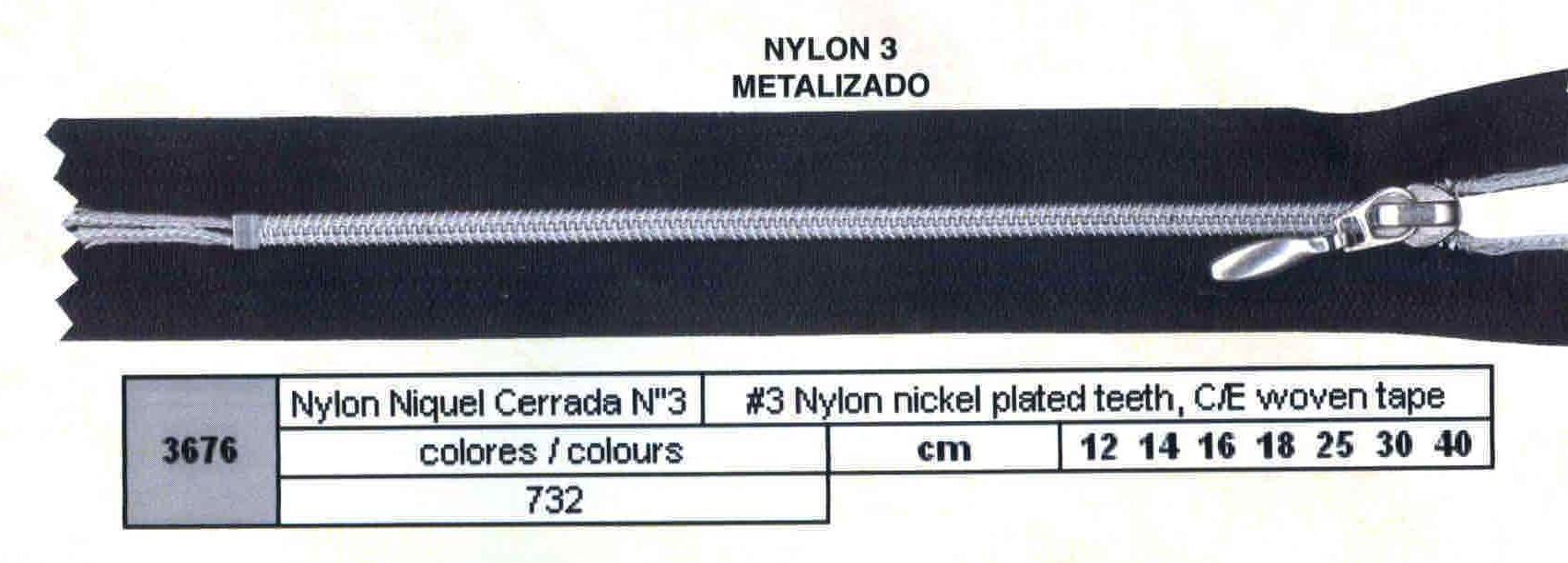 Cremallera SNS Nylon Níquel Cerrada num. 3