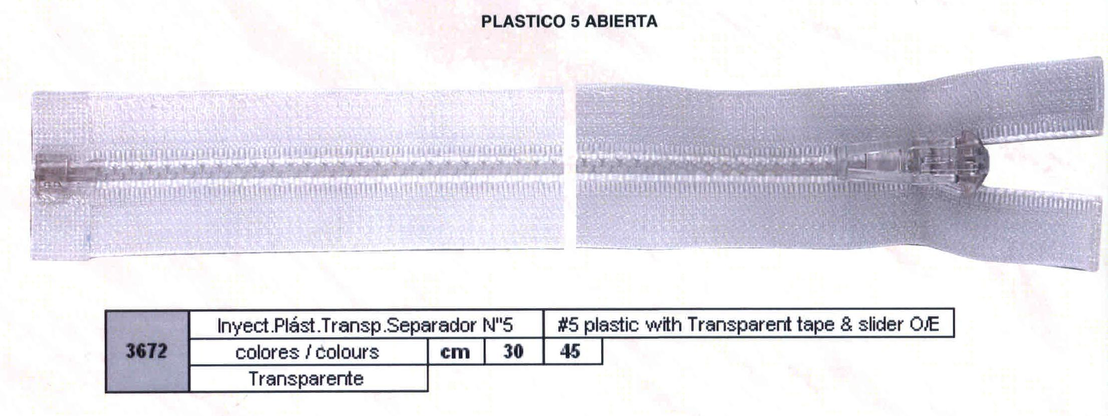Cremallera SNS Plástico Transparente Separador num. 5