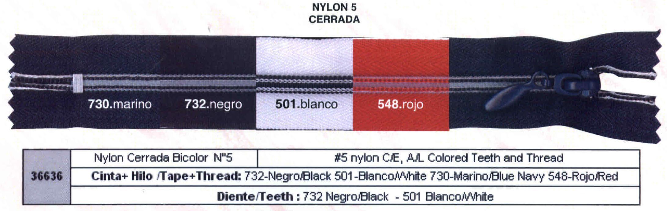 Cremallera SNS Nylon Cerrada M-5 Hilo y dientes de color