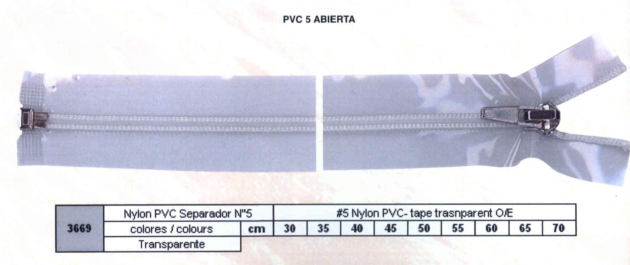 Cremallera SNS Nylon PVC Separador num. 5