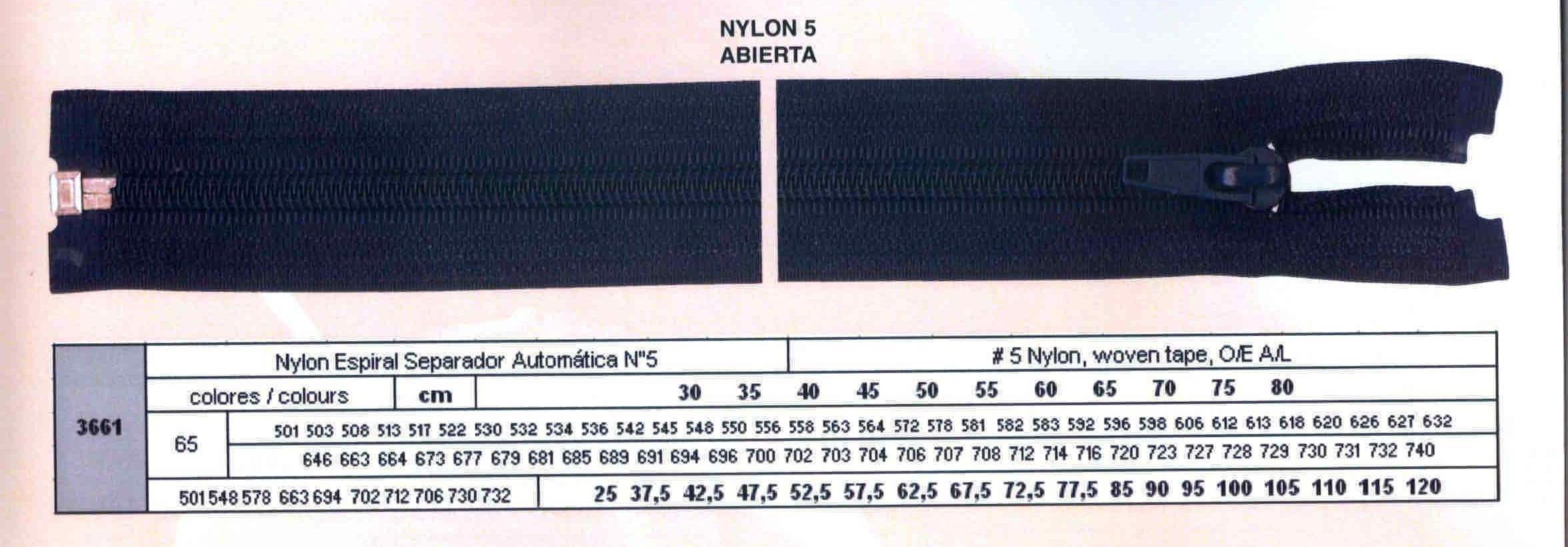 Cremallera SNS Nylon Espiral Separador Automática num. 5