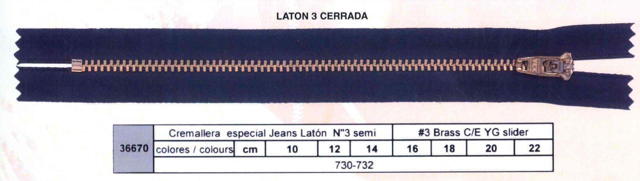 Cremallera SNS Especial Tejano Latón num. 3 Semiautomática