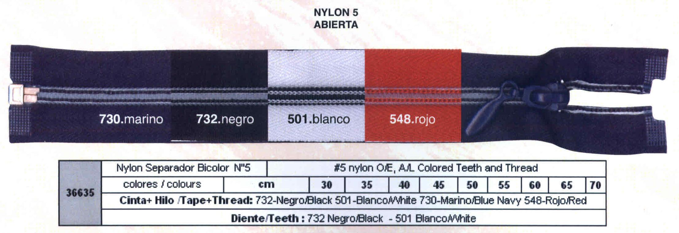 Cremallera SNS Nylon Separador M-5 Hilo y dientes de color