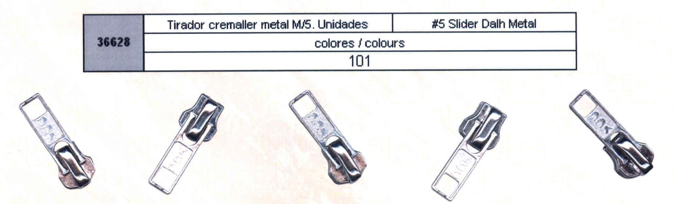 Tirador de Cremallera Metal num. 5 Unidades