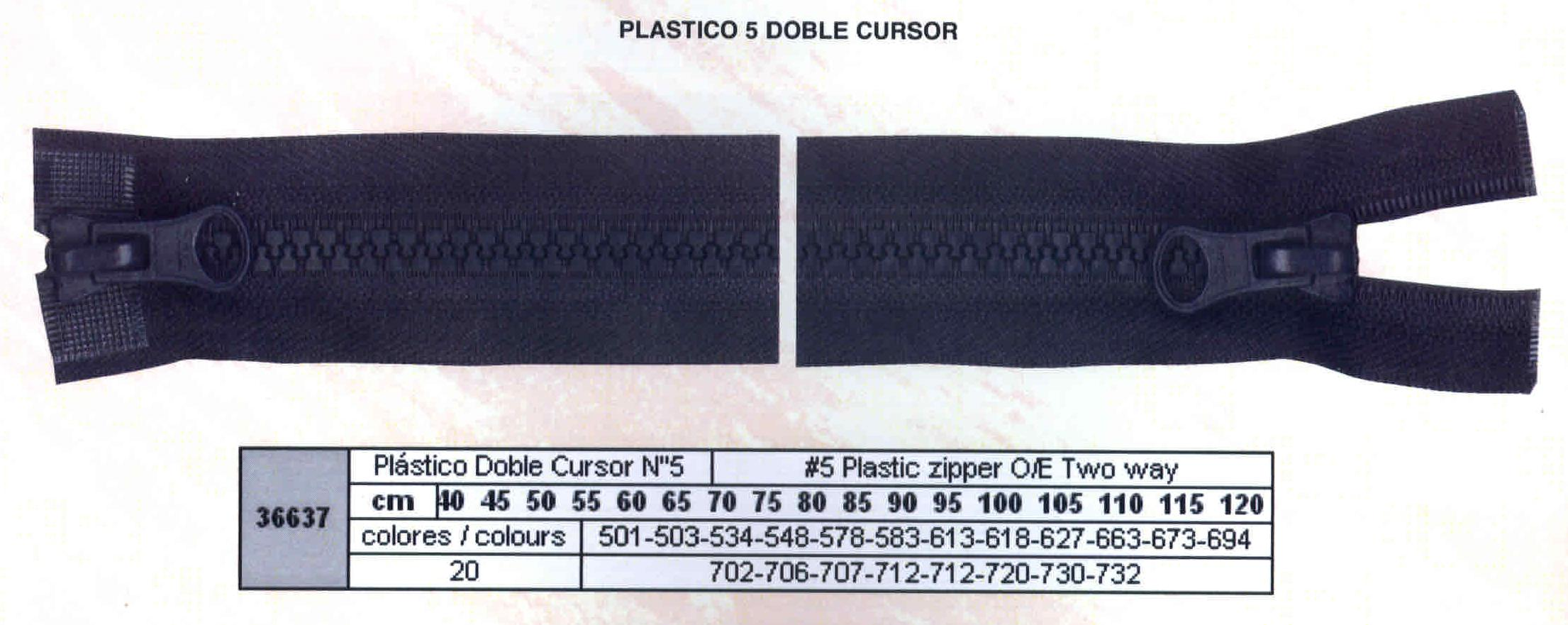 Cremallera SNS Plástico Doble Cursos M.5