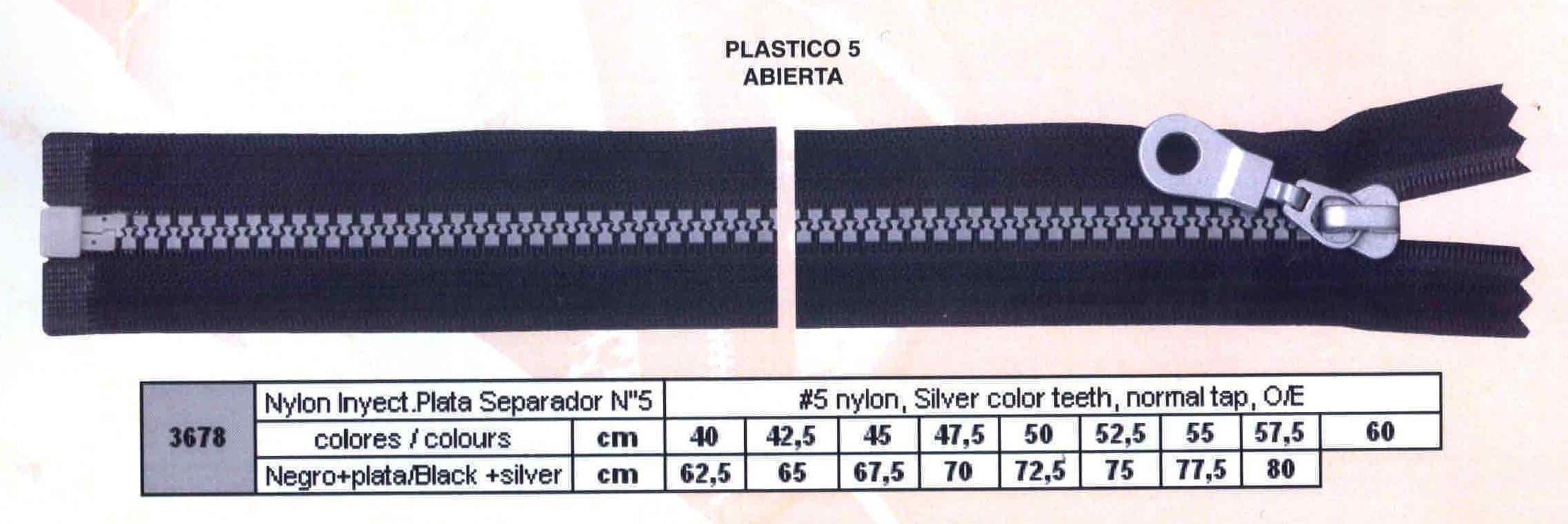 Cremallera SNS Nylon Inyectada Plata Separador num. 5