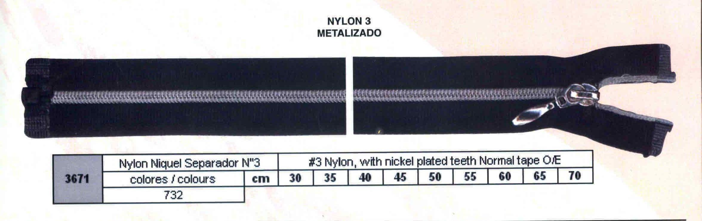 Cremallera SNS Nylon Níquel Separador num. 3