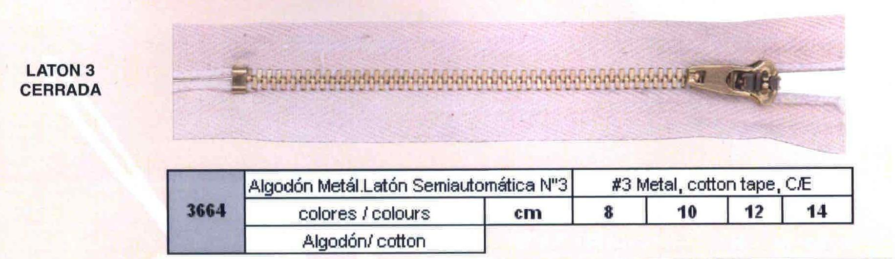 Cremallera SNS Algodón Metálica Latón Semiautomática num. 3