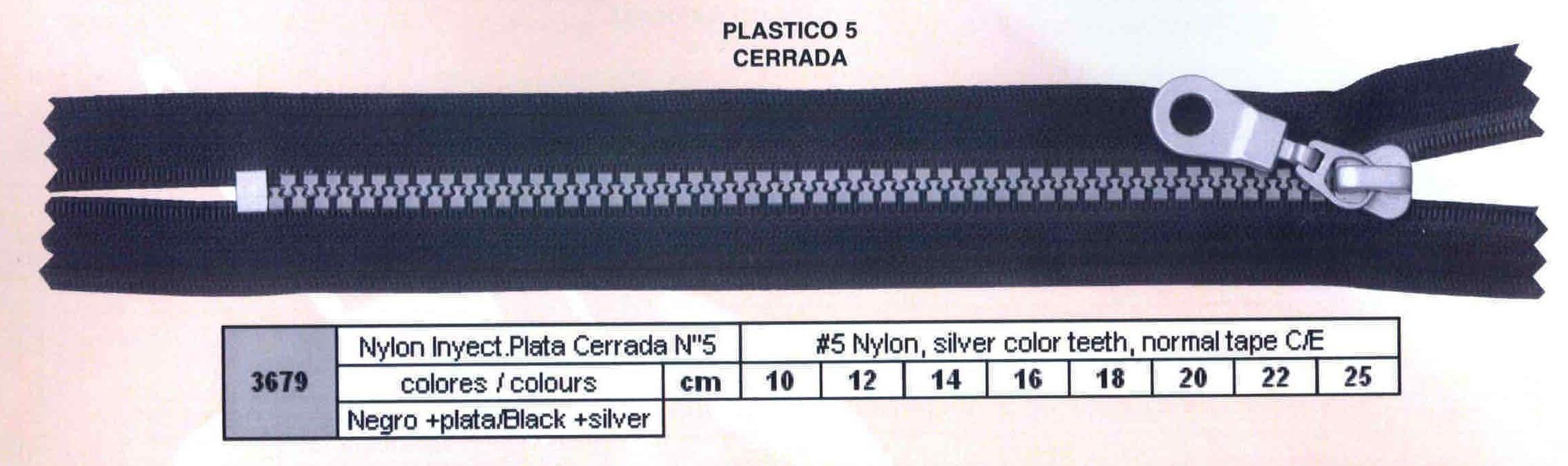 Cremallera SNS Nylon Inyectada Plata Cerrada num. 5