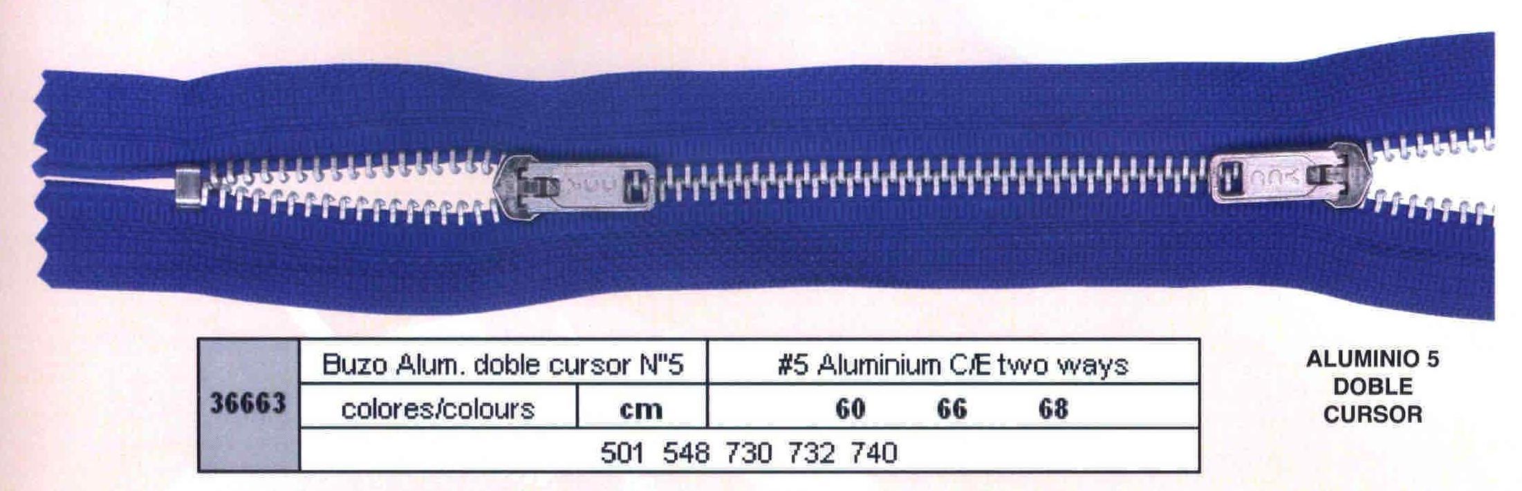 Cremallera SNS Buzo Doble num. 5 Aluminio