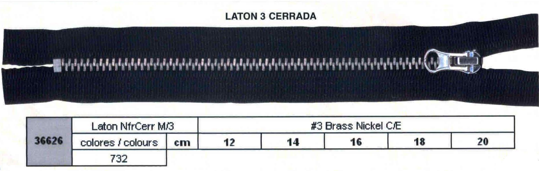 Cremallera SNS Latón NFR Cerrada num. 3