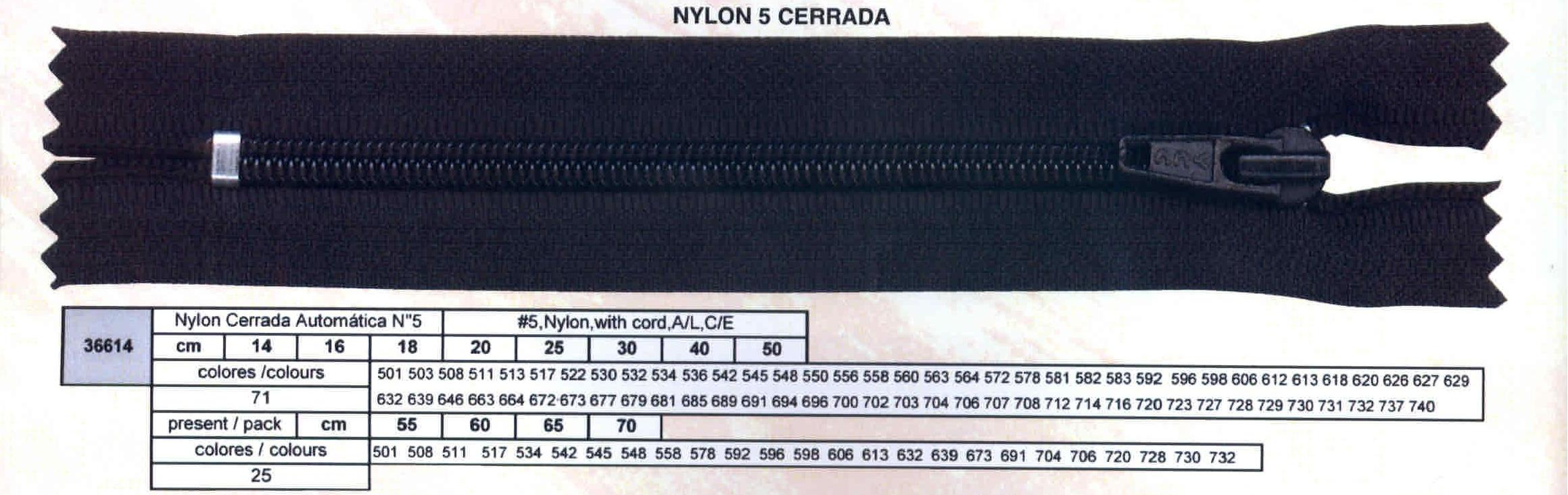Cremallera SNS Nylon Cerrada Automática num. 5 Ref. 036614