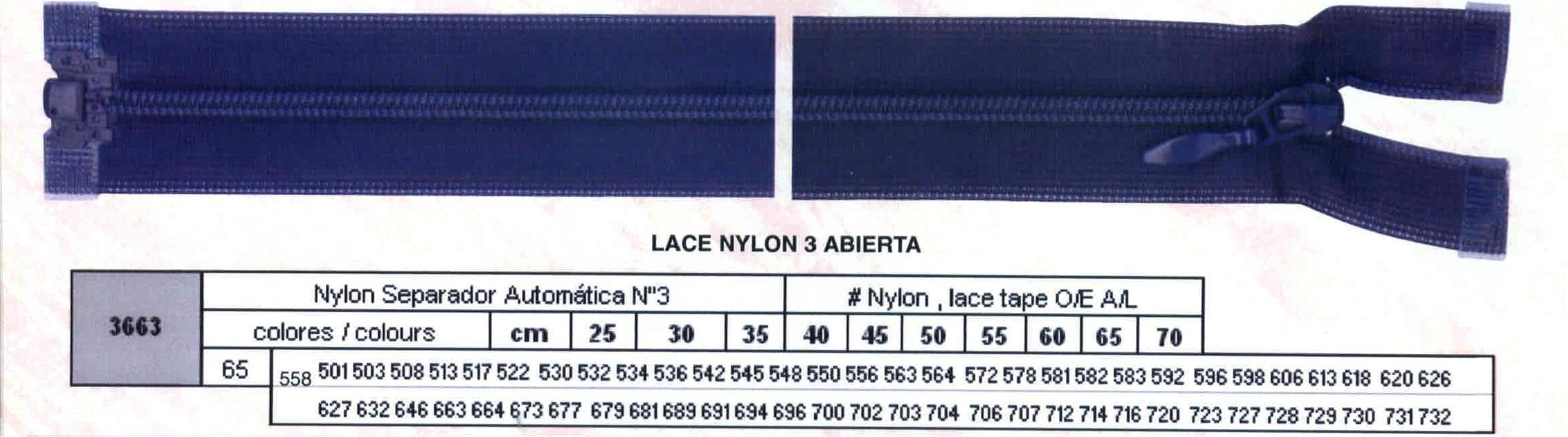 Cremallera SNS Nylon Separador Automática num.3 Ref. 003663