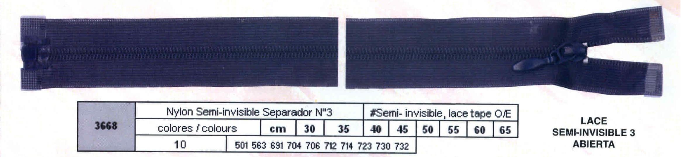 Cremallera SNS Semi-invisible Separador num.3 Ref. 003668