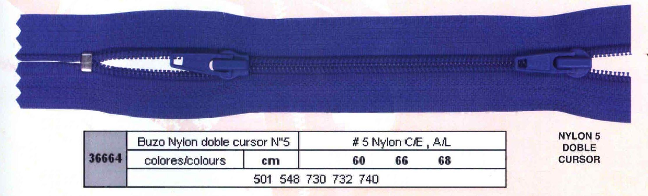 Cremallera SNS Buzo Doble num. 5 Nylon
