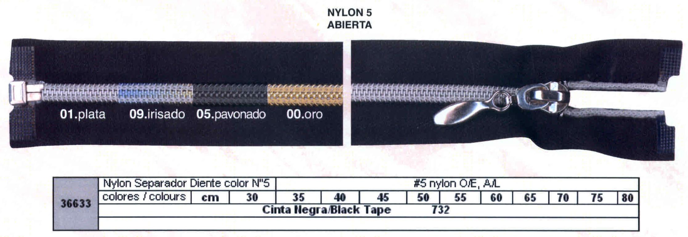 Cremallera SNS Nylon M-5 Separador Metal