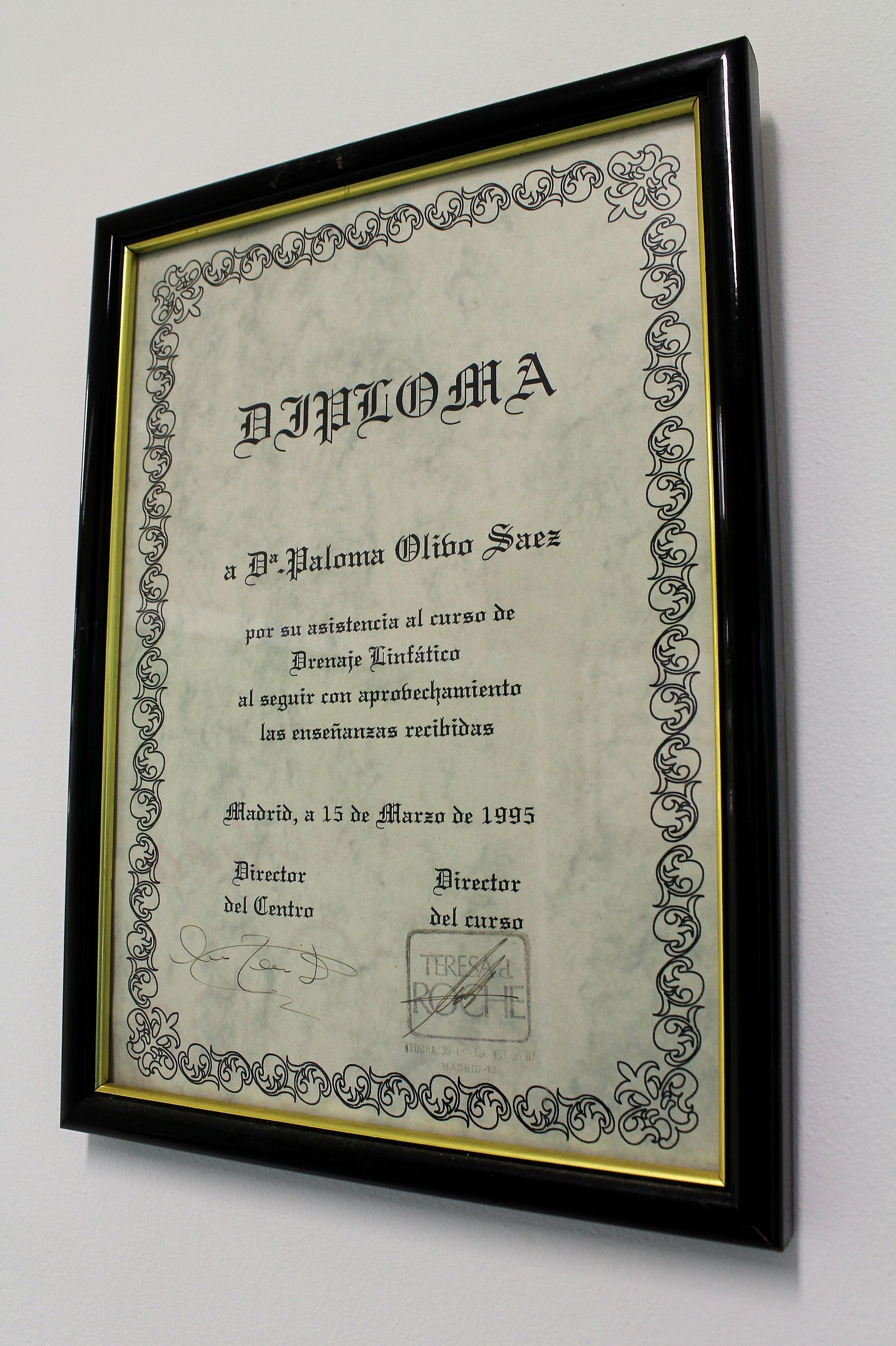 Diploma de un curso de drenaje linfático