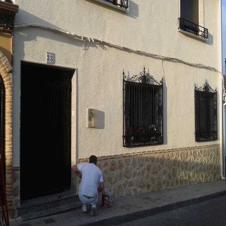 Imitaci n piedra o ladrillo trabajos y t cnicas de jos for Zocalo fachada exterior