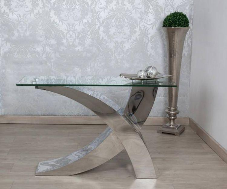Mesa de cristal y metal