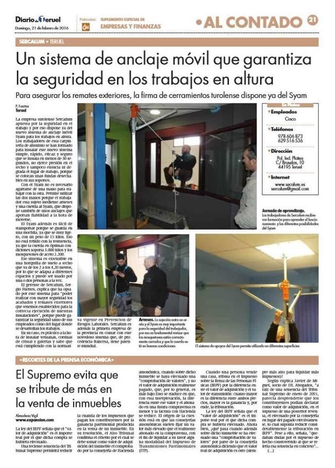 SYAM: Diario de Teruel. Suplemento Especial de Empresas y Finanzas.