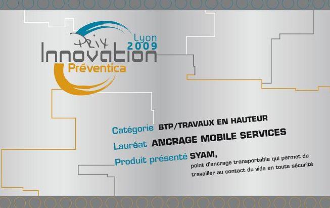 Anclaje SYAM, trabajos en altura. Premio a la innovación. Preventica 2009.