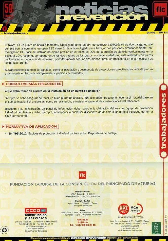 Sistema de anclaje SYAM & FLC  de Asturias. Noticias de Prevención. 2