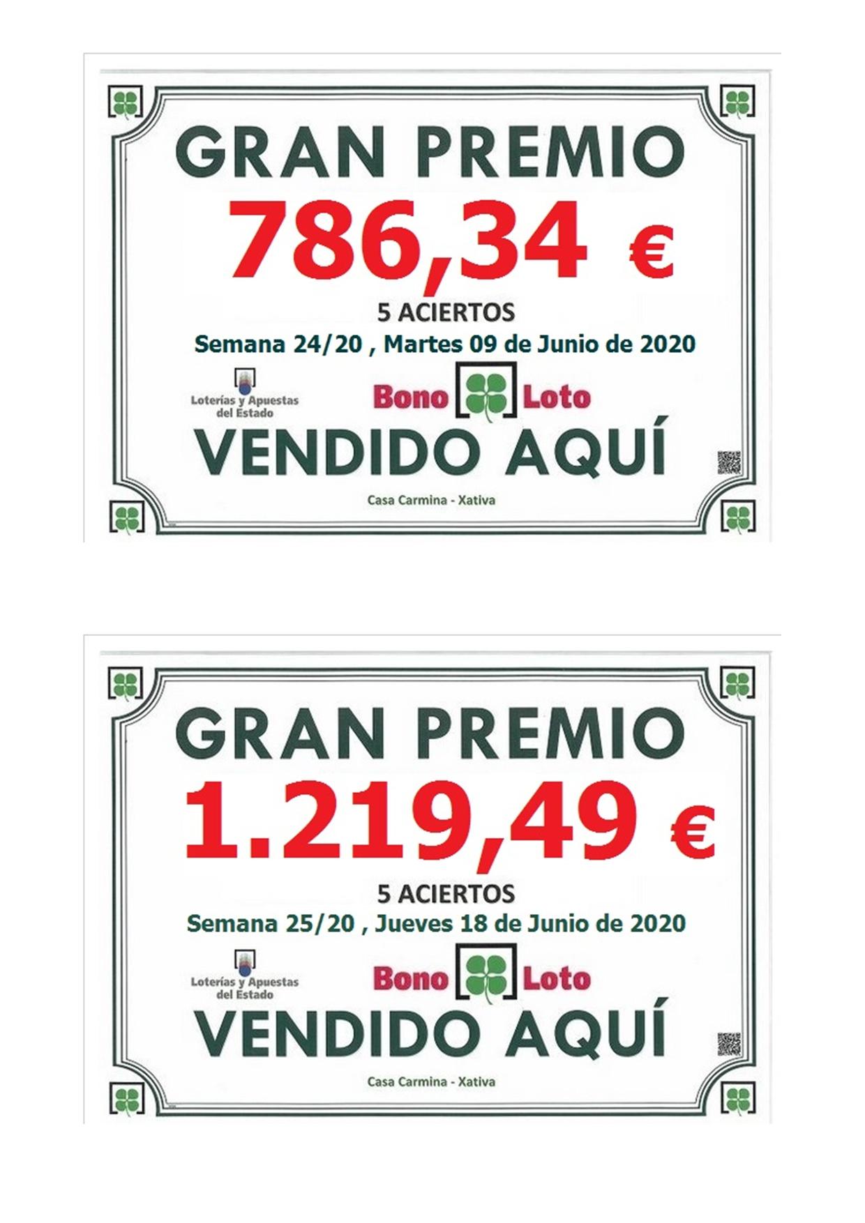 Premios Bonoloto de 5 aciertos después de la pandemia.