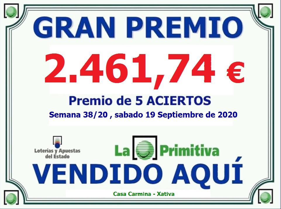 Premio de 5 Aciertos en la lotería Primitiva del Sábado 19 de Septiembre.