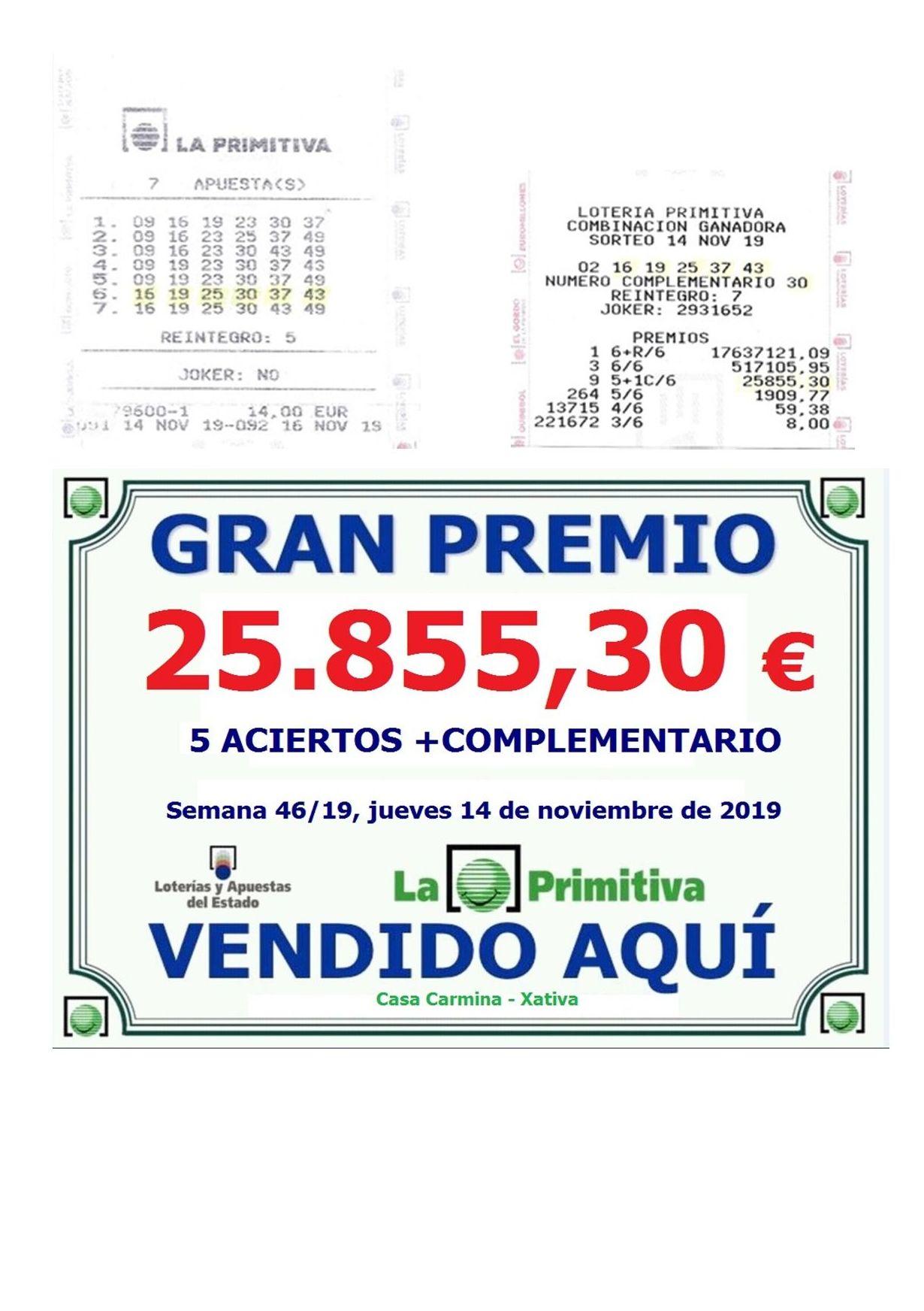 Premio en la primitiva del jueves 14 de noviembre de 5 Aciertos + complementario de 25.855,30€