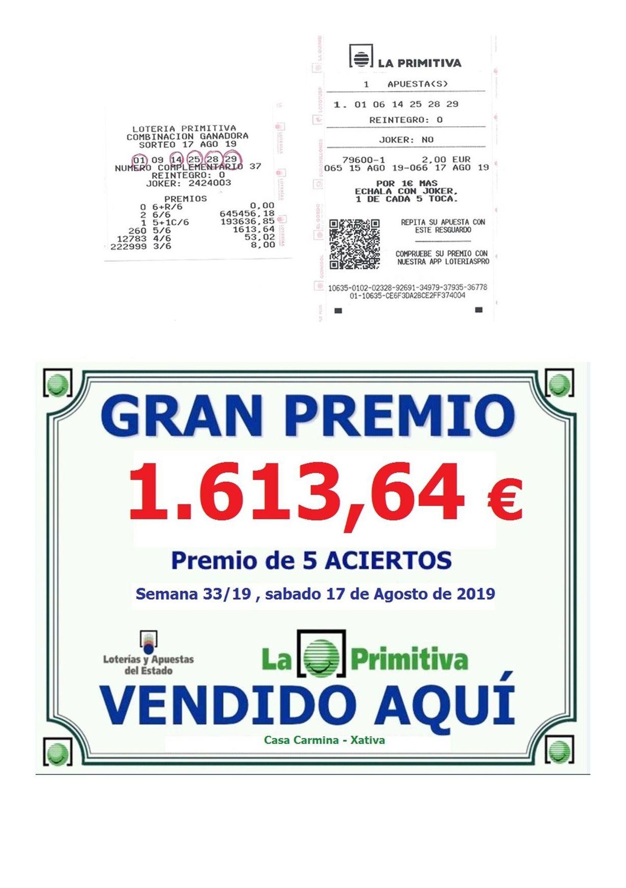 Sorteo Sabado 17/08/2019