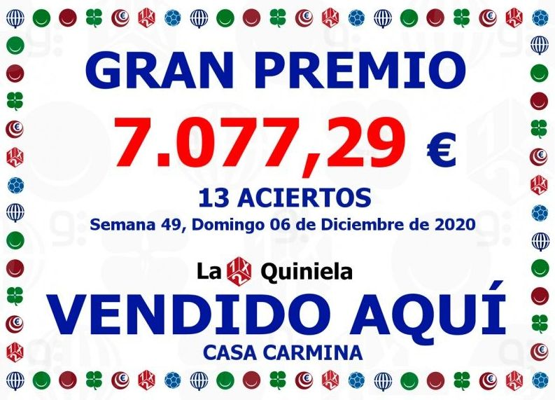 Premio Quiniela 13 Aciertos Domingo 06/12/2020