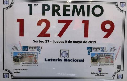 Primer Premio Loteria Nacional Jueves 09/05/2019