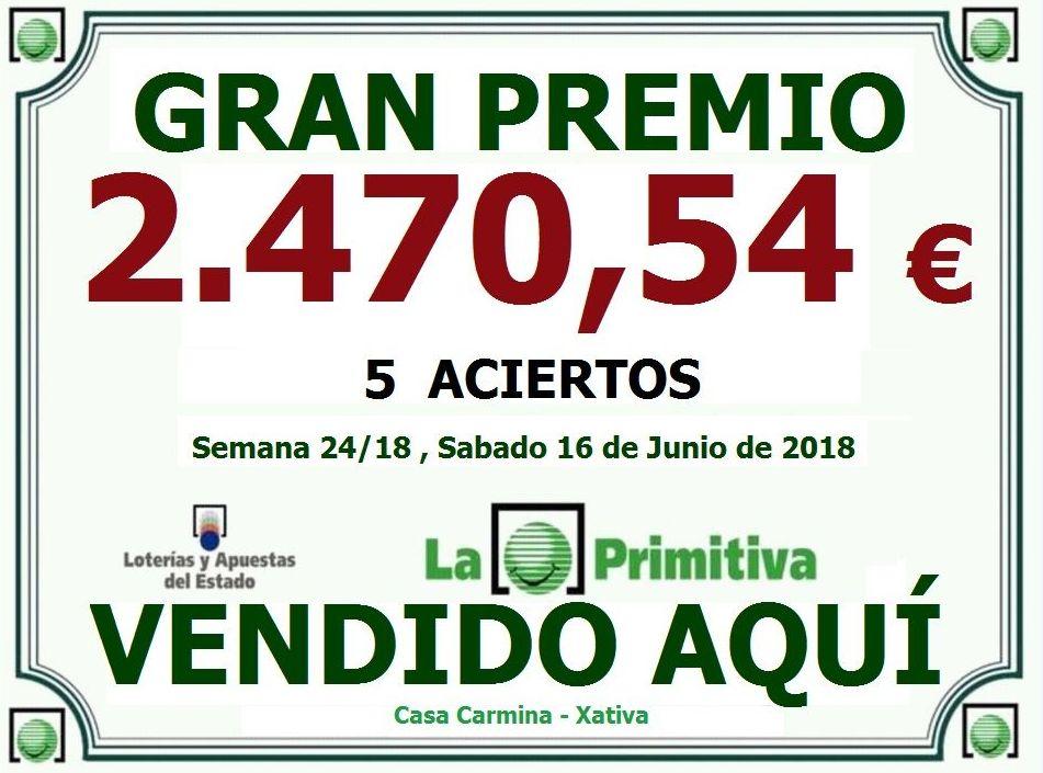 PREMIO PRIMITIVA 16/06/2018