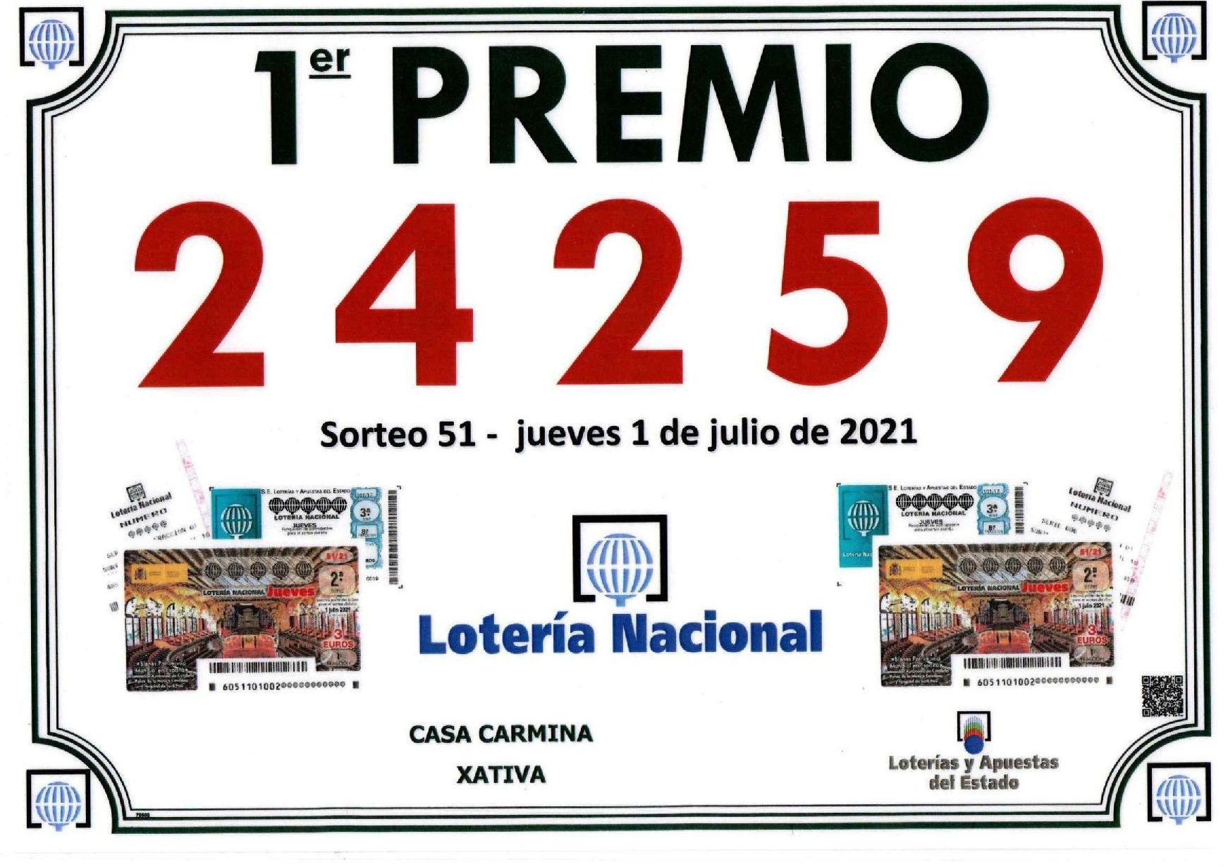 Primer Premio lotería nacional Jueves 1 de Julio 2021