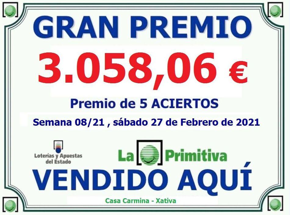 Premio 5 Aciertos en la lotería primitiva del sábado 27 de febrero del 2021