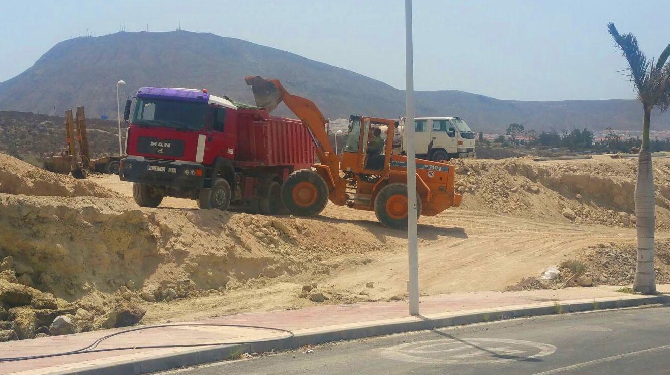 Desmonte realizado en la zona sur de la isla de Tenerife, en las viviendas Siam