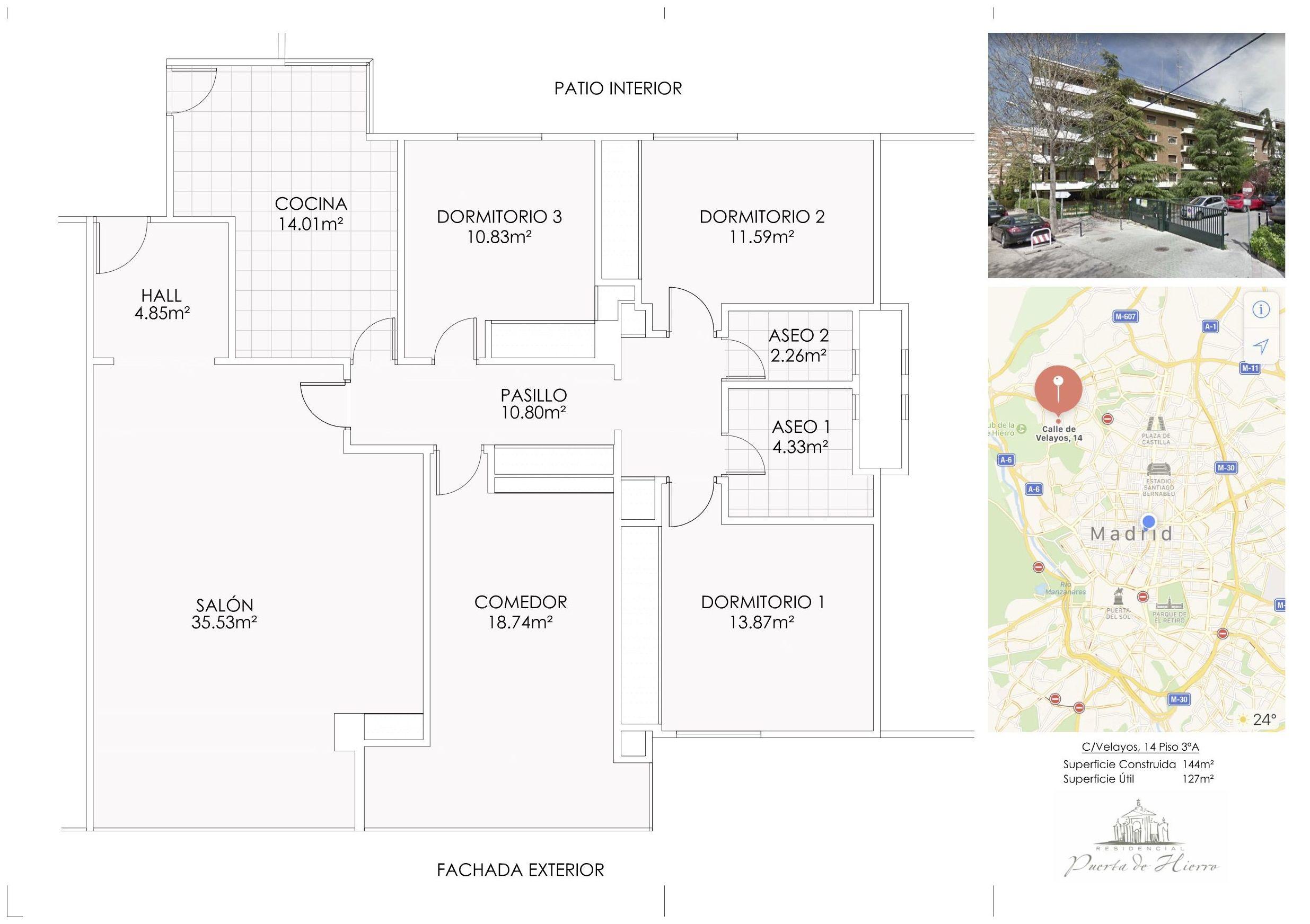 Plano distribución piso en venta calle Velayos.