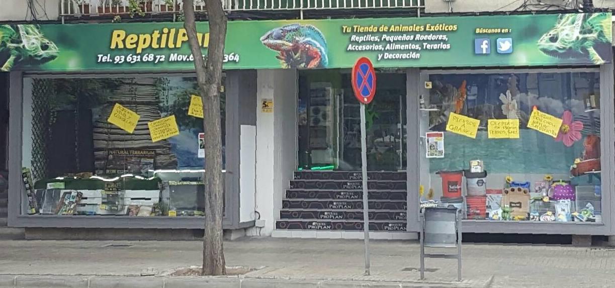 Fachada de nuestra tienda de animales exóticos, piensos y mucho más en Viladecans