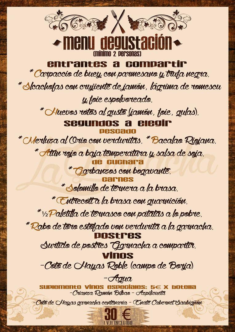 Menú Degustación: Nuestra carta de Asador La Garnacha