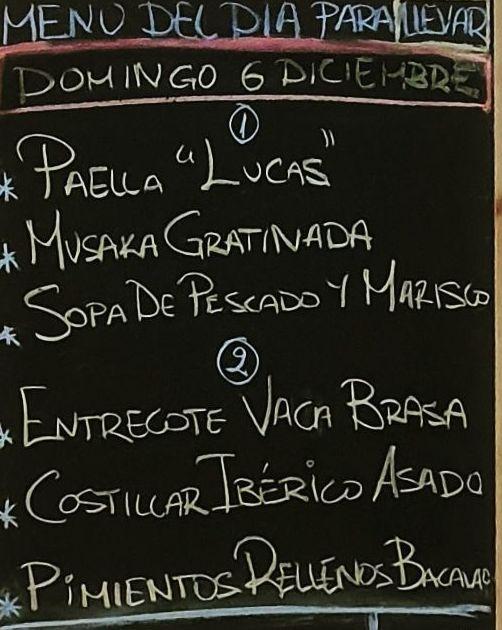 Menú del día domingo 6 de diciembre.Bebida,postre y pan a 15€