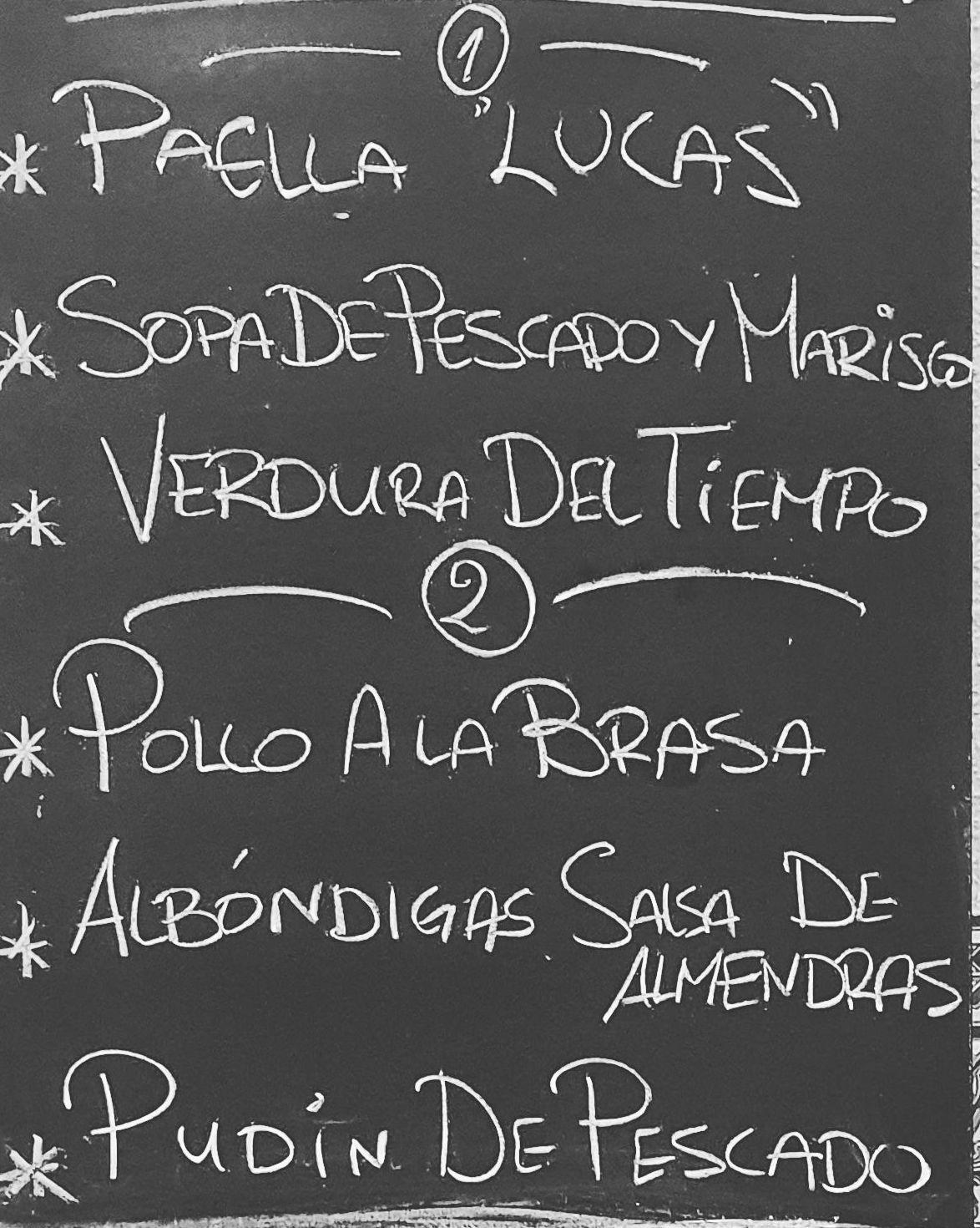Menú del día jueves 24 de diciembre.Bebida,postre y pan a 10€