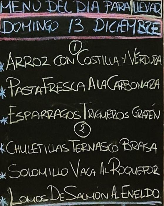 Menu del dia domingo 13 de diciembre. Bebida, postre y pan a 15€