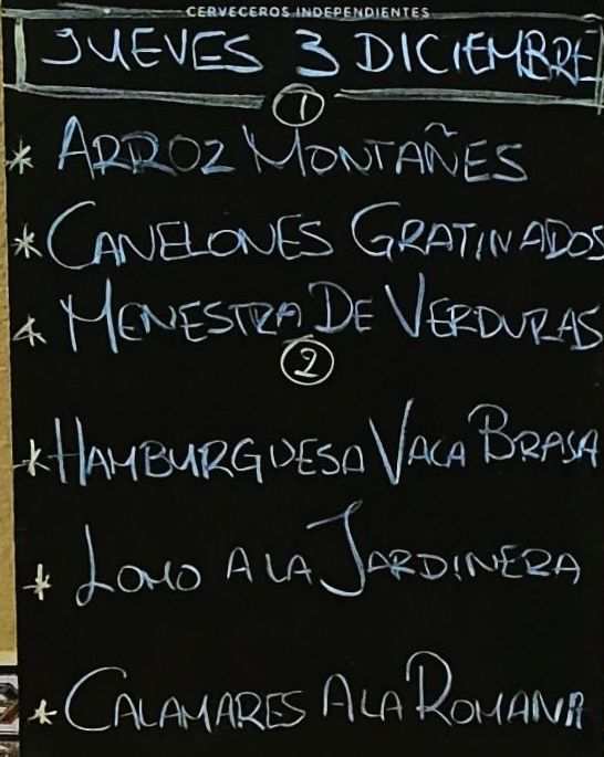 Menú del día jueves 3 de diciembre.Bebida,postre y pan a 10€